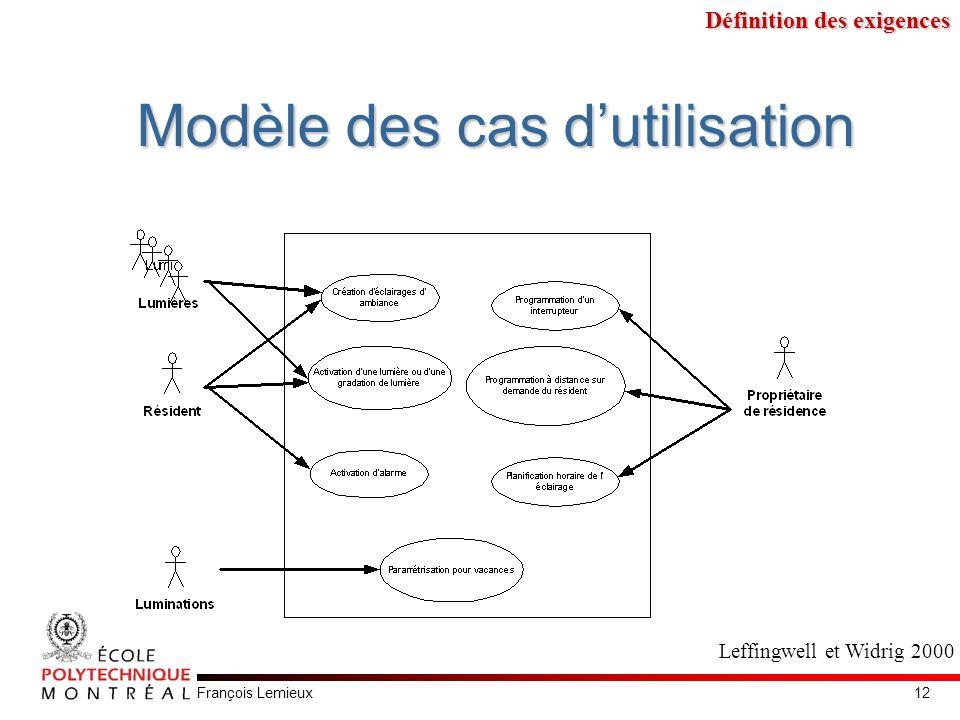 François Lemieux Modèle des cas dutilisation Leffingwell et Widrig 2000 Définition des exigences 12
