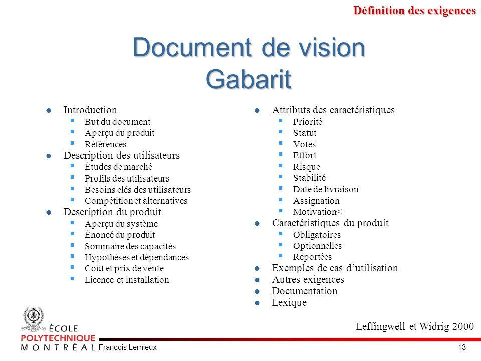 François Lemieux Document de vision Gabarit Introduction But du document Aperçu du produit Références Description des utilisateurs Études de marché Pr