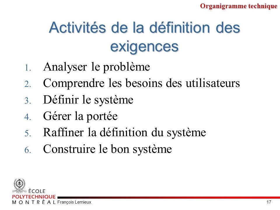 François Lemieux Activités de la définition des exigences 1. Analyser le problème 2. Comprendre les besoins des utilisateurs 3. Définir le système 4.