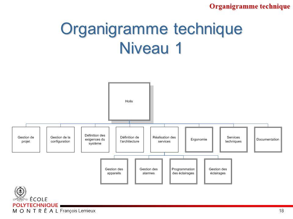 François Lemieux Organigramme technique Niveau 1 Organigramme technique 18