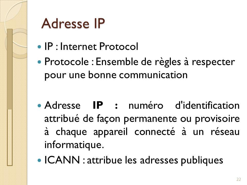 Adresse IP 22 IP : Internet Protocol Protocole : Ensemble de règles à respecter pour une bonne communication Adresse IP : numéro d'identification attr