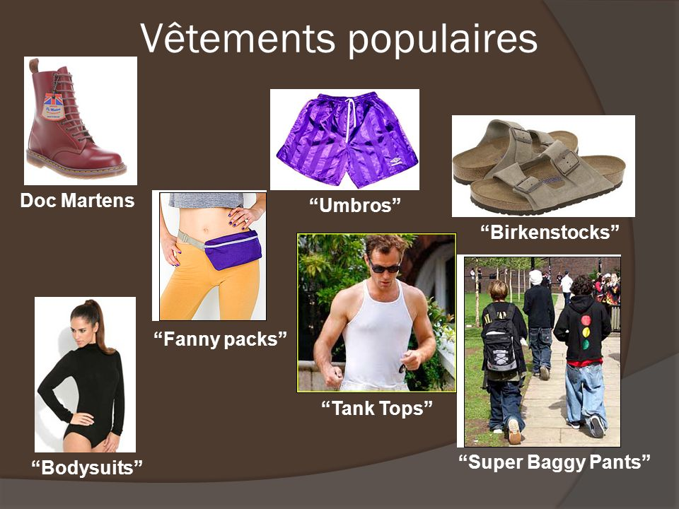 Vêtements populaires Doc Martens Bodysuits Fanny packs Umbros Tank Tops Birkenstocks Super Baggy Pants