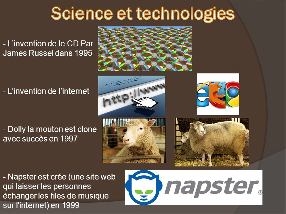 - Linvention de le CD Par James Russel dans 1995 - Linvention de linternet - Dolly la mouton est clone avec succès en 1997 - Napster est crée (une site web qui laisser les personnes échanger les files de musique sur l internet) en 1999