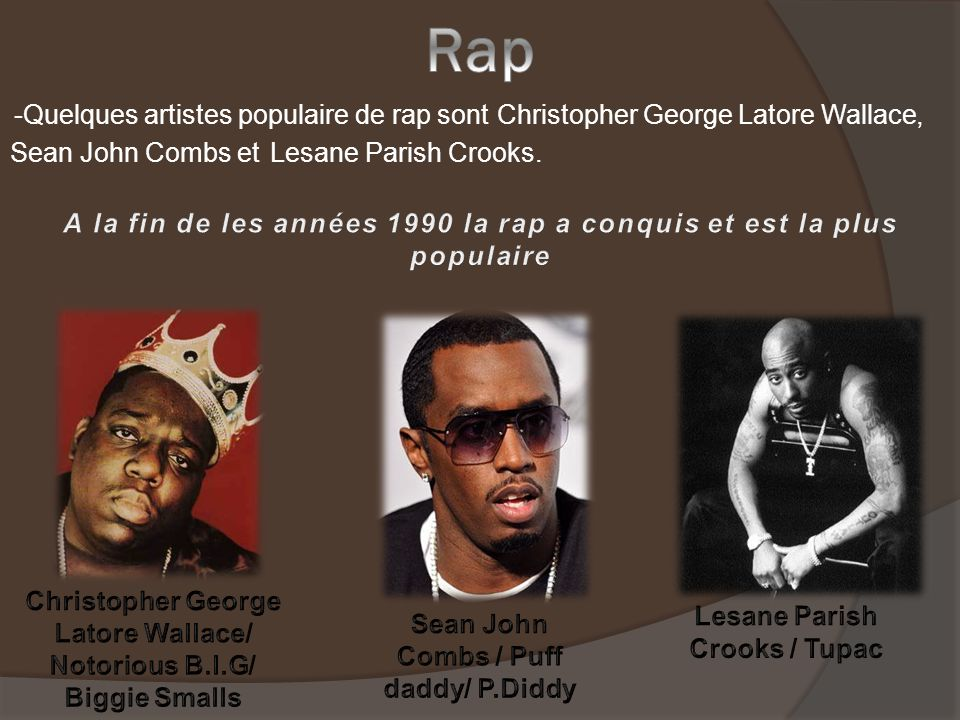 -Quelques artistes populaire de rap sontChristopher George Latore Wallace, Sean John Combs et Lesane Parish Crooks.