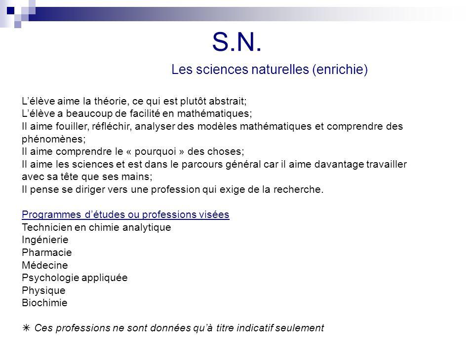 S.N. Les sciences naturelles (enrichie) Lélève aime la théorie, ce qui est plutôt abstrait; Lélève a beaucoup de facilité en mathématiques; Il aime fo