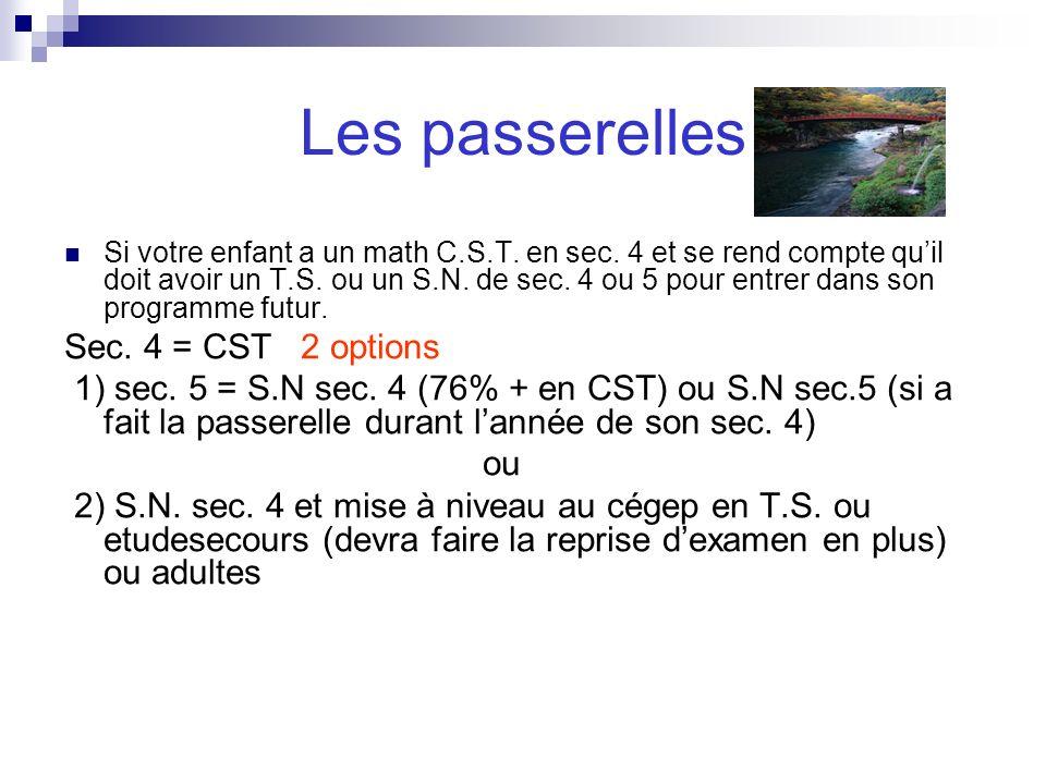 Les passerelles Si votre enfant a un math C.S.T. en sec. 4 et se rend compte quil doit avoir un T.S. ou un S.N. de sec. 4 ou 5 pour entrer dans son pr