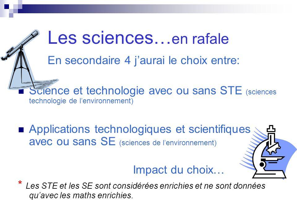 Les sciences… en rafale En secondaire 4 jaurai le choix entre: Science et technologie avec ou sans STE (sciences technologie de lenvironnement) Applic