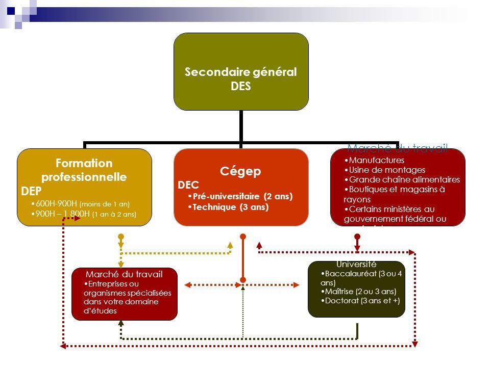 Secondaire général DES Formation professionnelle DEP 600H-900H (moins de 1 an) 900H – 1 800H (1 an à 2 ans) Cégep DEC Pré-universitaire (2 ans) Techni