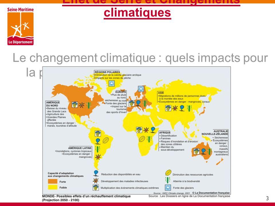 3 Effet de Serre et Changements climatiques Le changement climatique : quels impacts pour la planète?