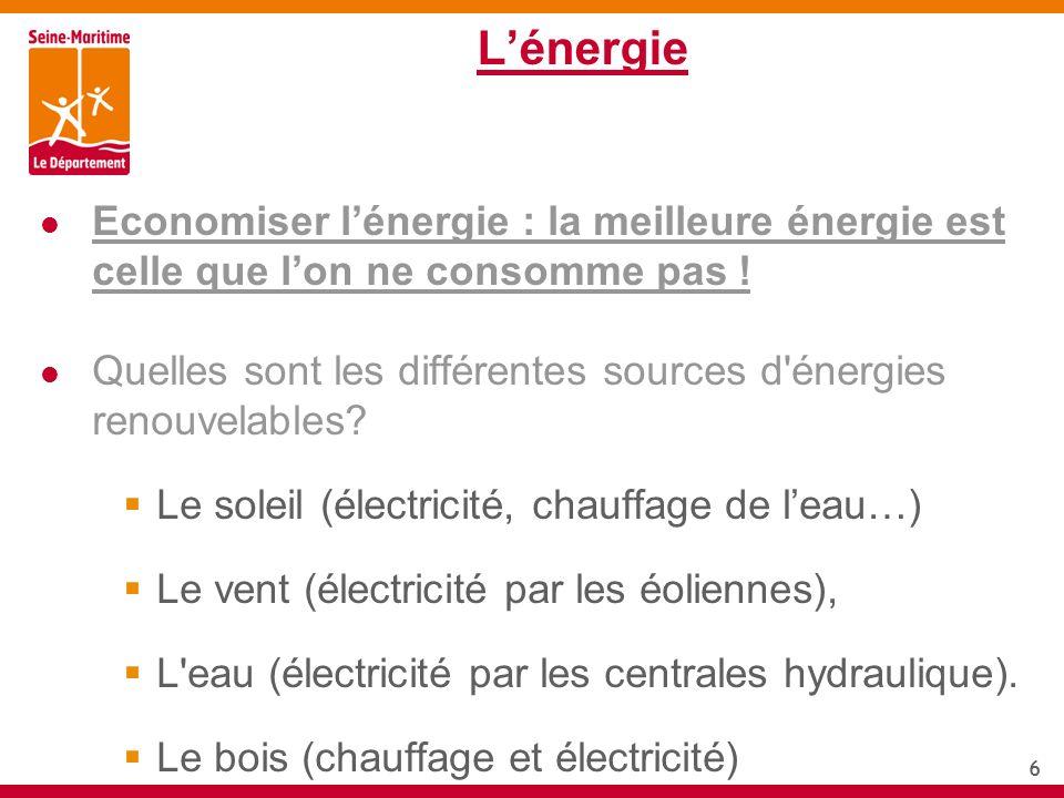6 Lénergie Economiser lénergie : la meilleure énergie est celle que lon ne consomme pas ! Quelles sont les différentes sources d'énergies renouvelable