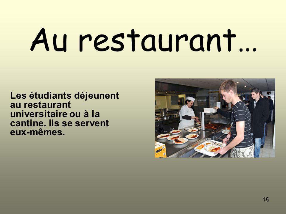 15 Au restaurant… Les étudiants déjeunent au restaurant universitaire ou à la cantine. Ils se servent eux-mêmes.