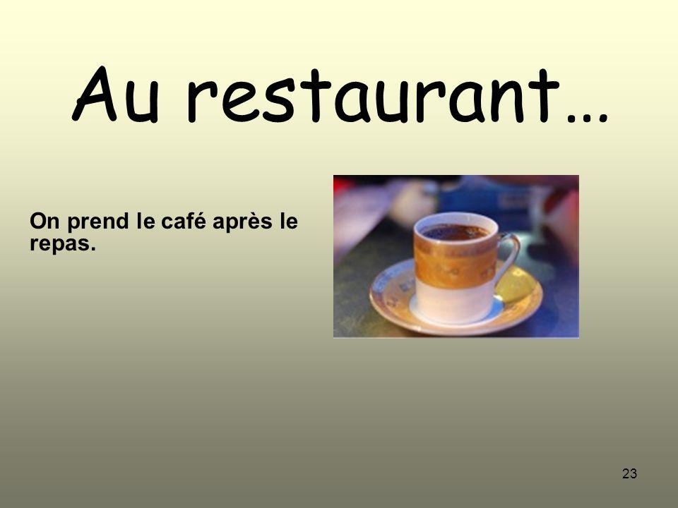 23 Au restaurant… On prend le café après le repas.