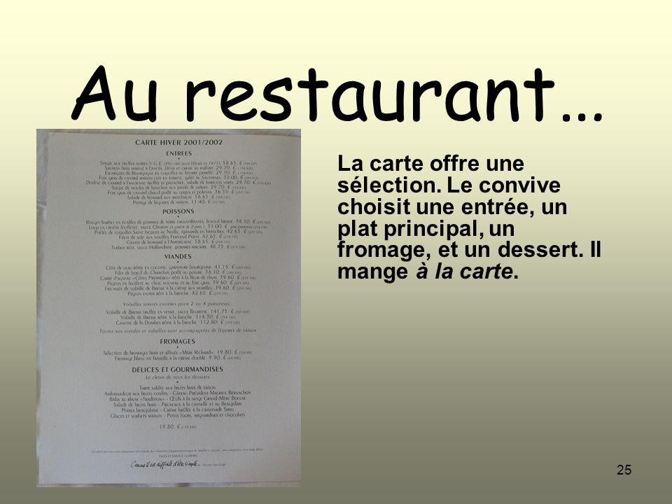 25 Au restaurant… La carte offre une sélection. Le convive choisit une entrée, un plat principal, un fromage, et un dessert. Il mange à la carte.