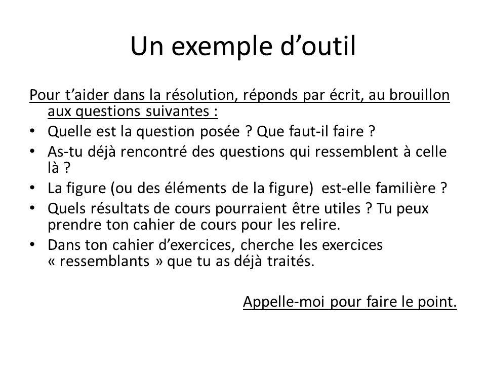 Un exemple doutil Pour taider dans la résolution, réponds par écrit, au brouillon aux questions suivantes : Quelle est la question posée ? Que faut-il