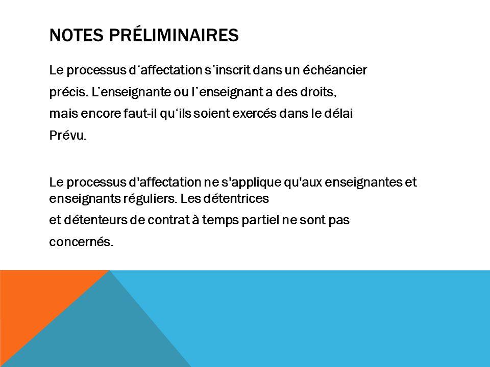 NOTES PRÉLIMINAIRES Le processus daffectation sinscrit dans un échéancier précis.