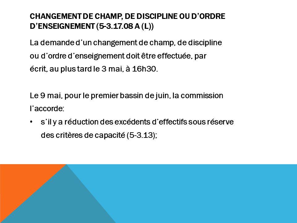 CHANGEMENT DE CHAMP, DE DISCIPLINE OU DORDRE DENSEIGNEMENT (5-3.17.08 A (L)) La demande dun changement de champ, de discipline ou dordre denseignement doit être effectuée, par écrit, au plus tard le 3 mai, à 16h30.
