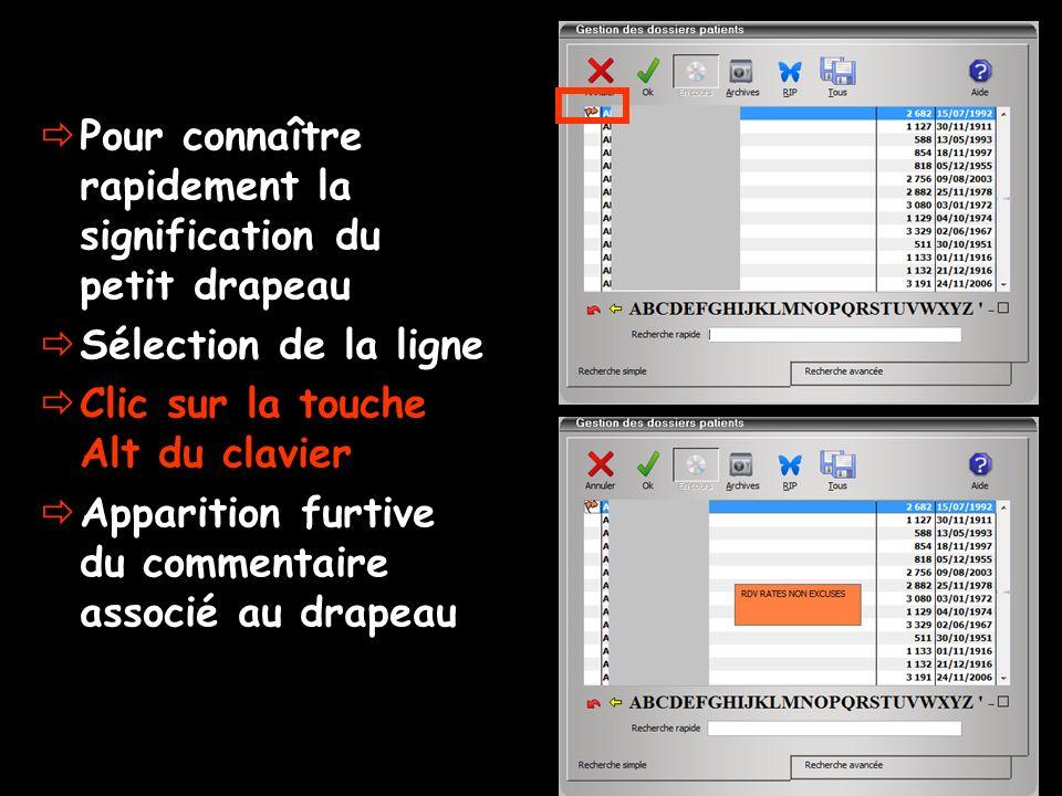 Pour connaître rapidement la signification du petit drapeau Sélection de la ligne Clic sur la touche Alt du clavier Apparition furtive du commentaire