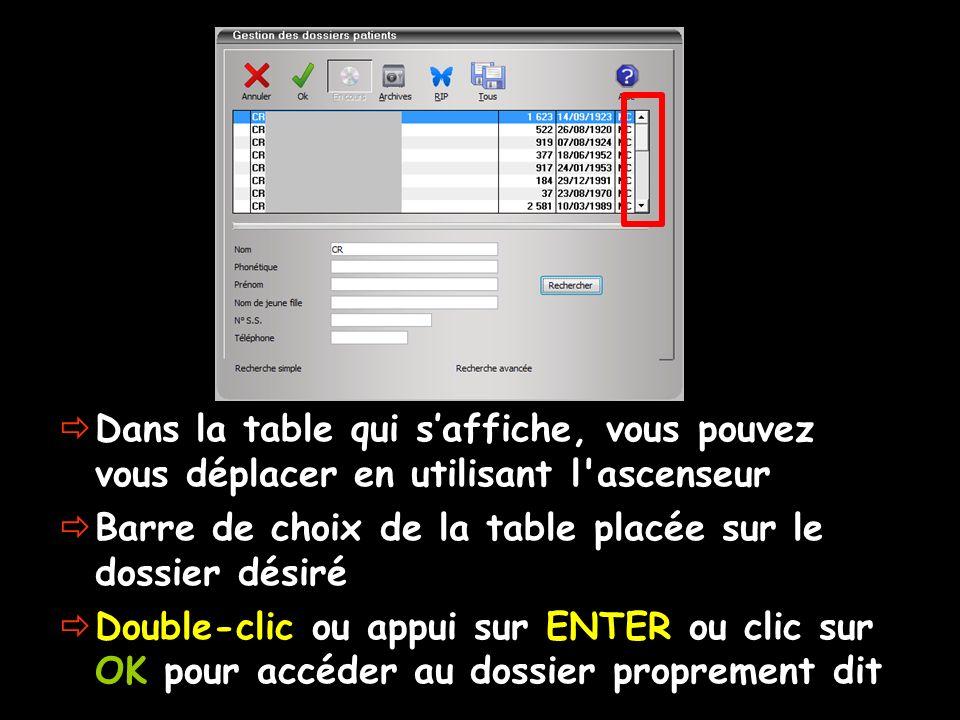 Dans la table qui saffiche, vous pouvez vous déplacer en utilisant l'ascenseur Barre de choix de la table placée sur le dossier désiré Double-clic ou