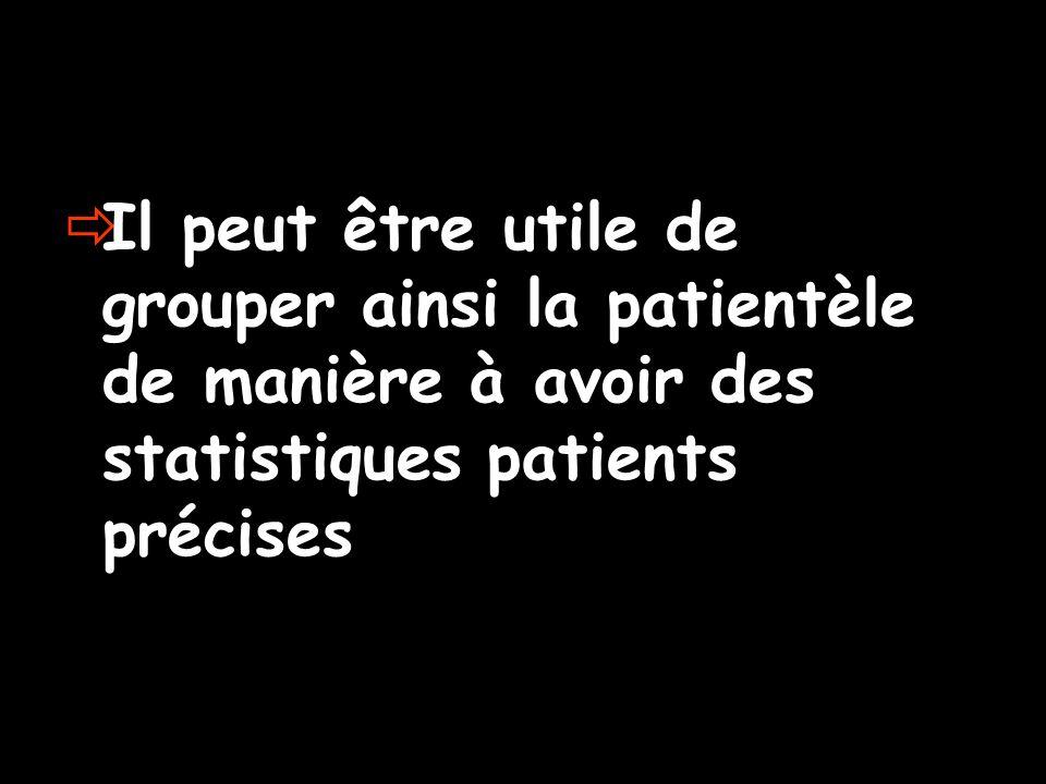 Il peut être utile de grouper ainsi la patientèle de manière à avoir des statistiques patients précises