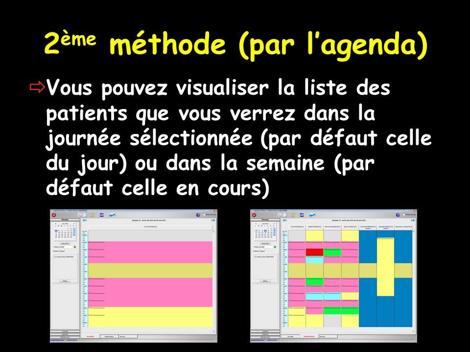 2 ème méthode (par lagenda) Vous pouvez visualiser la liste des patients que vous verrez dans la journée sélectionnée (par défaut celle du jour) ou da
