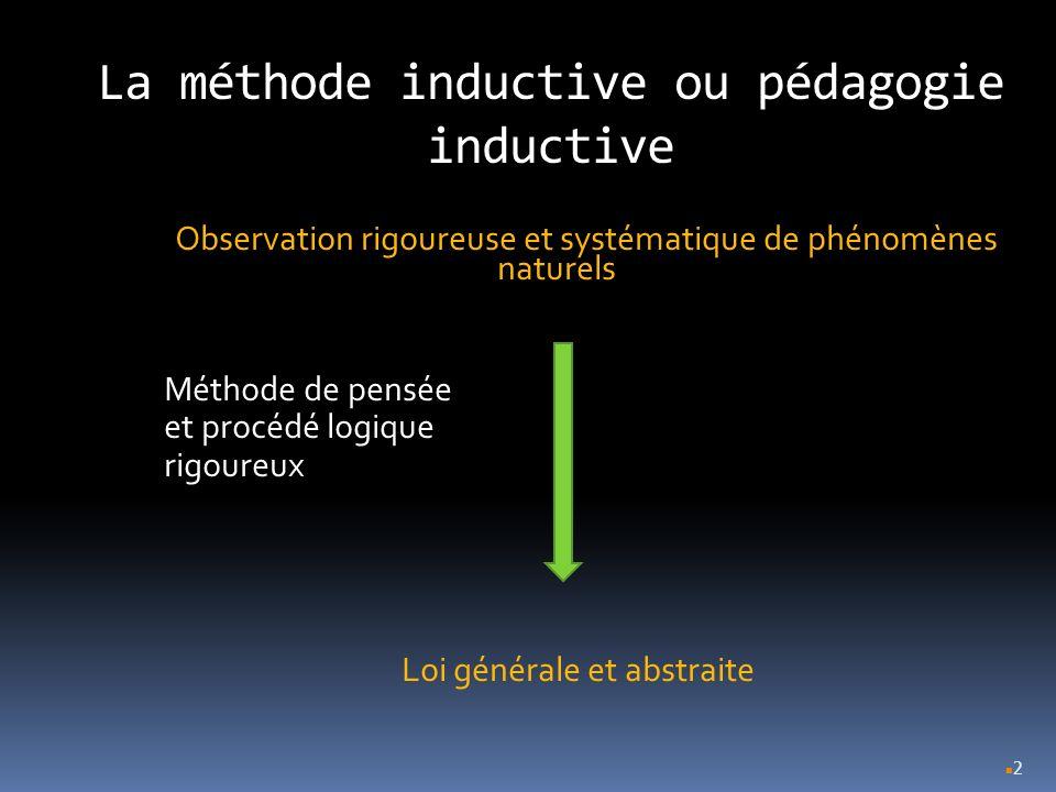 2 La méthode inductive ou pédagogie inductive Observation rigoureuse et systématique de phénomènes naturels Méthode de pensée et procédé logique rigou