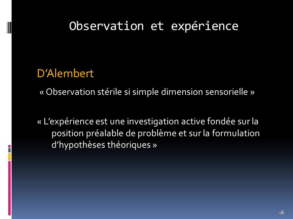 Observation et expérience DAlembert « Observation stérile si simple dimension sensorielle » « Lexpérience est une investigation active fondée sur la p
