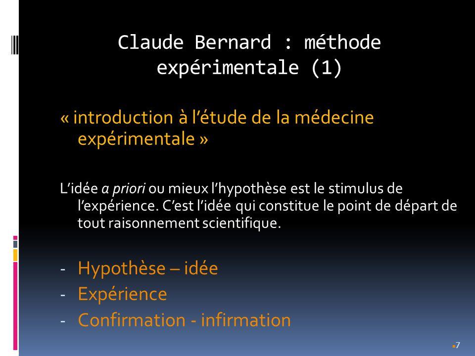Claude Bernard : méthode expérimentale (2) « introduction à létude de la médecine expérimentale » - Commence par la constatation dun fait - Conception dune idée « à propos de ce fait » - Expérience pour tester cette idée 8