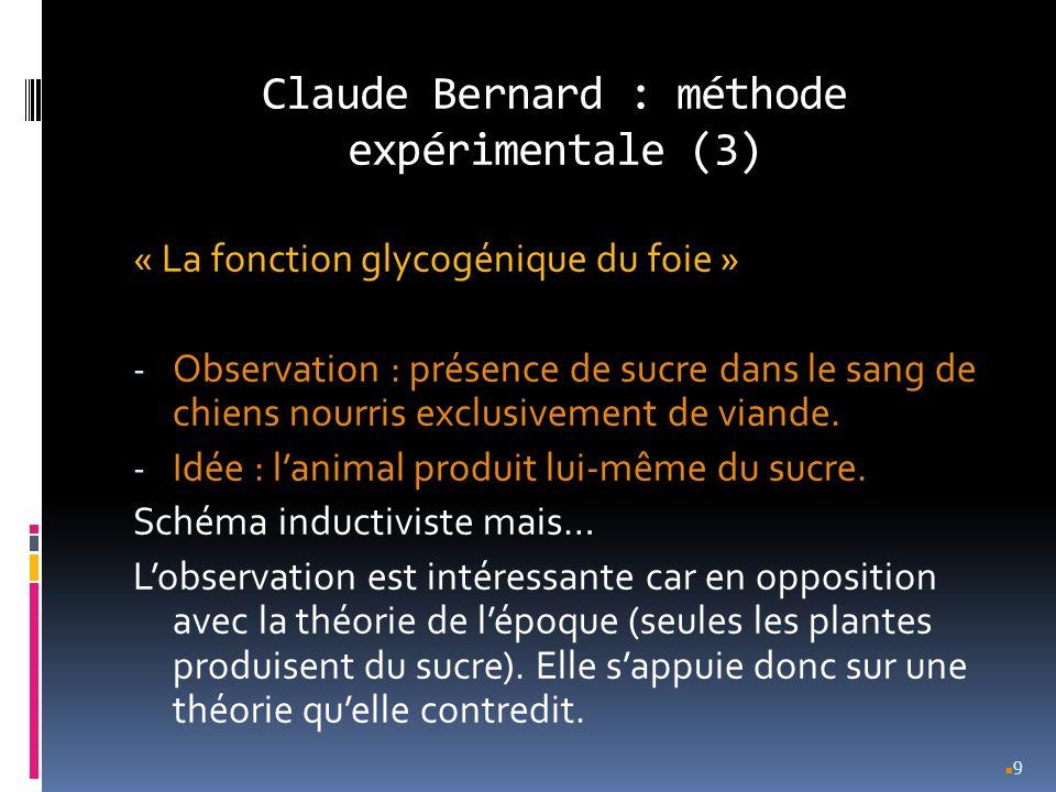 Claude Bernard : méthode expérimentale (3) « La fonction glycogénique du foie » - Observation : présence de sucre dans le sang de chiens nourris exclu