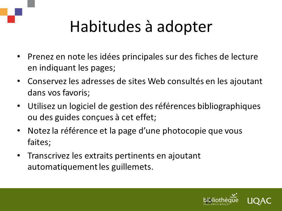Habitudes à adopter Prenez en note les idées principales sur des fiches de lecture en indiquant les pages; Conservez les adresses de sites Web consult