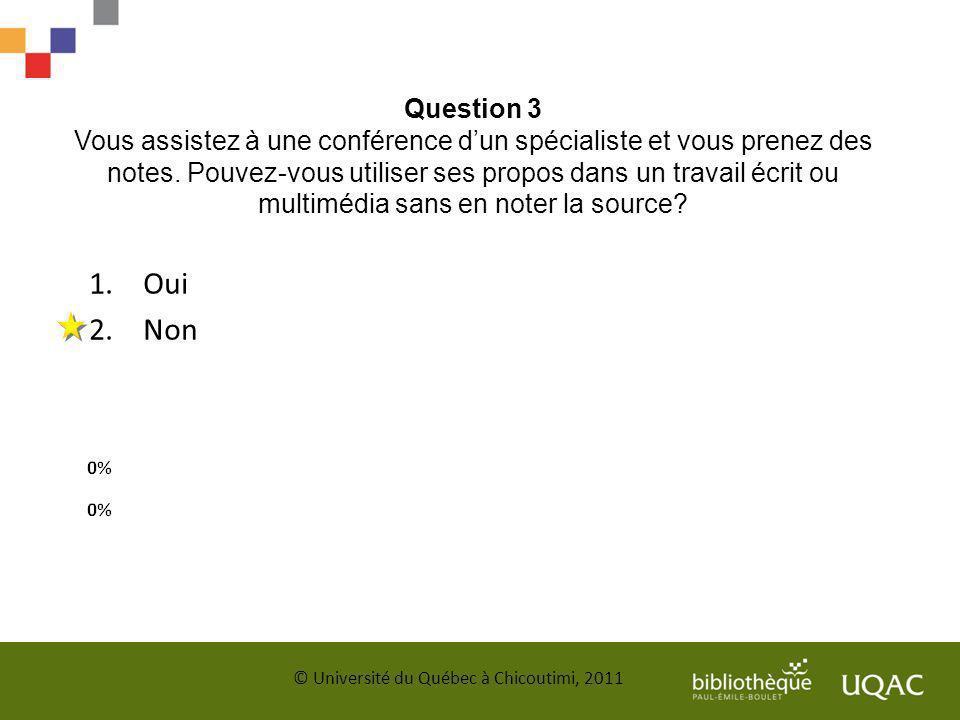 Question 3 Vous assistez à une conférence dun spécialiste et vous prenez des notes. Pouvez-vous utiliser ses propos dans un travail écrit ou multimédi
