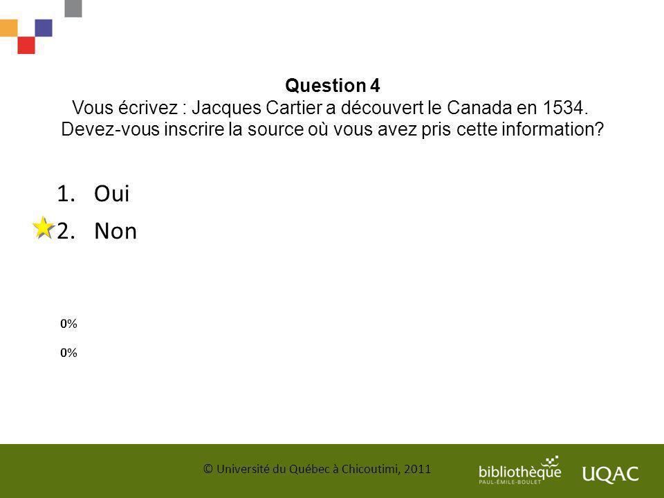 Question 4 Vous écrivez : Jacques Cartier a découvert le Canada en 1534. Devez-vous inscrire la source où vous avez pris cette information? © Universi