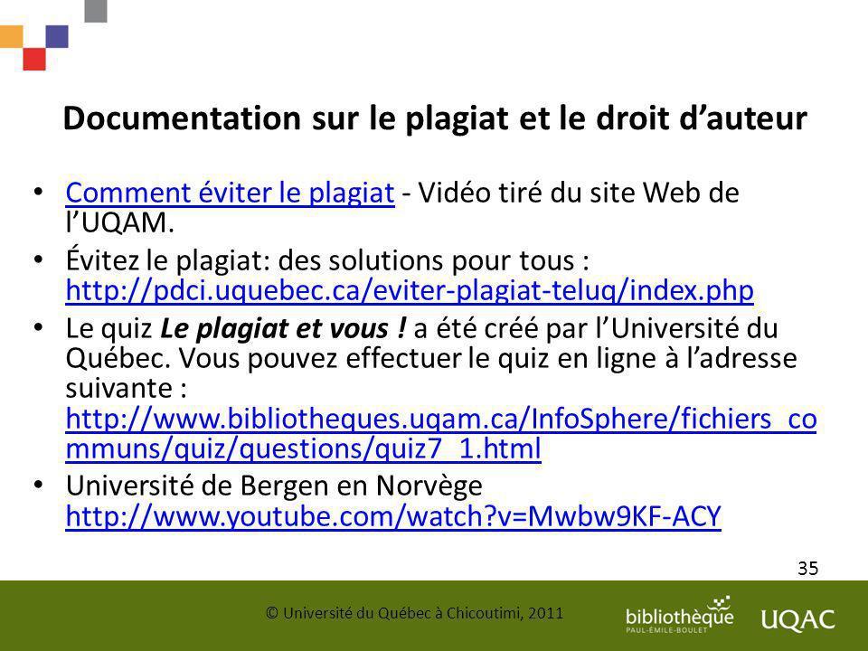 Documentation sur le plagiat et le droit dauteur Comment éviter le plagiat - Vidéo tiré du site Web de lUQAM. Comment éviter le plagiat Évitez le plag