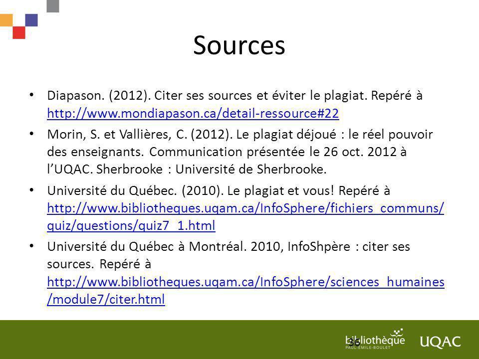 Sources Diapason. (2012). Citer ses sources et éviter le plagiat. Repéré à http://www.mondiapason.ca/detail-ressource#22 http://www.mondiapason.ca/det