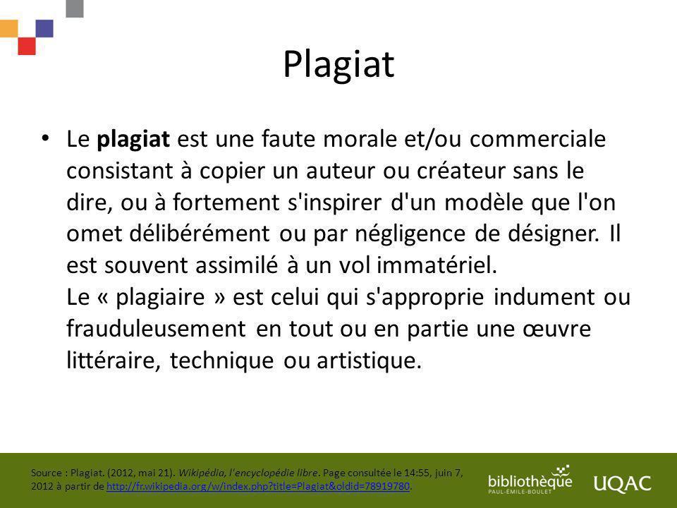 Plagiat Le plagiat est une faute morale et/ou commerciale consistant à copier un auteur ou créateur sans le dire, ou à fortement s'inspirer d'un modèl
