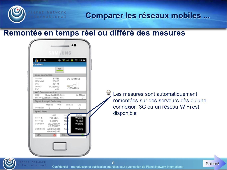 8 Remontée en temps réel ou différé des mesures Les mesures sont automatiquement remontées sur des serveurs dès qu une connexion 3G ou un réseau WiFi est disponible Comparer les réseaux mobiles...