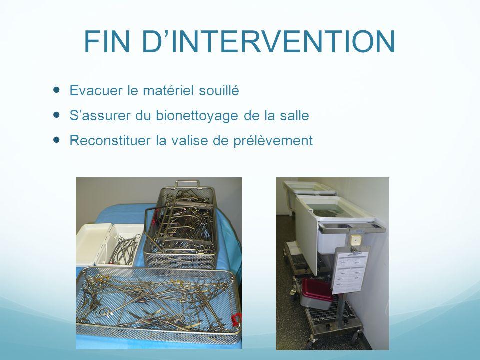 FIN DINTERVENTION Evacuer le matériel souillé Sassurer du bionettoyage de la salle Reconstituer la valise de prélèvement
