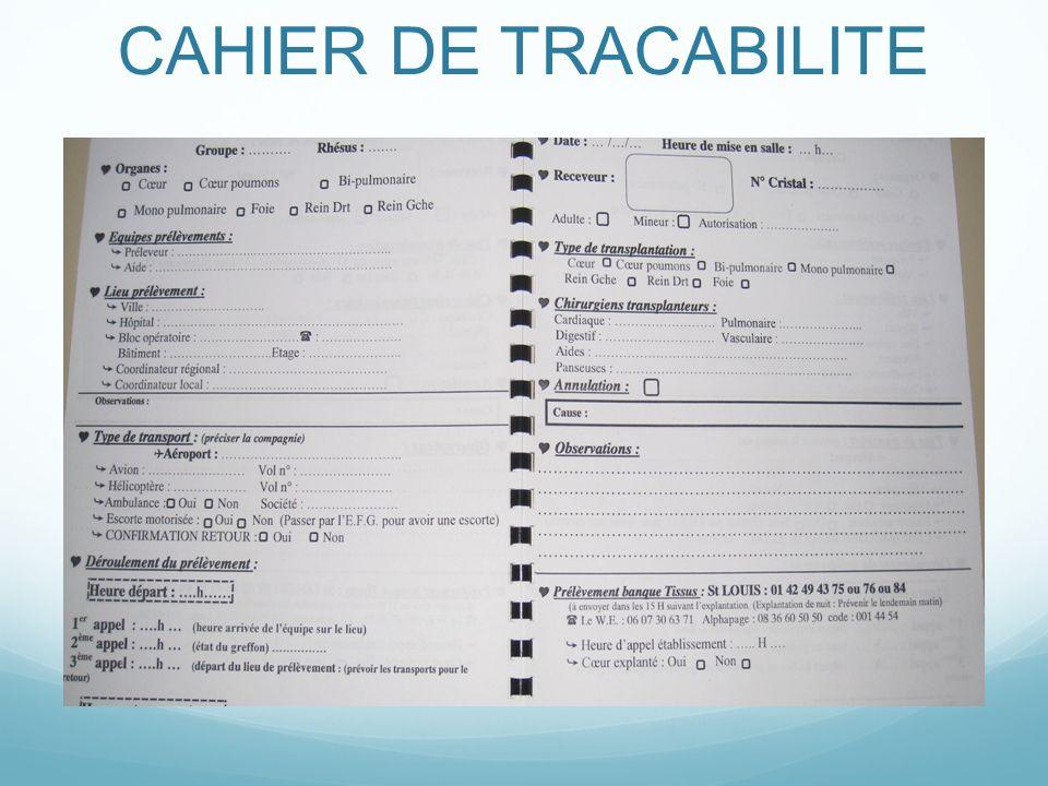CAHIER DE TRACABILITE