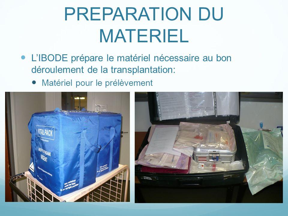 PREPARATION DU MATERIEL LIBODE prépare le matériel nécessaire au bon déroulement de la transplantation: Matériel pour le prélèvement