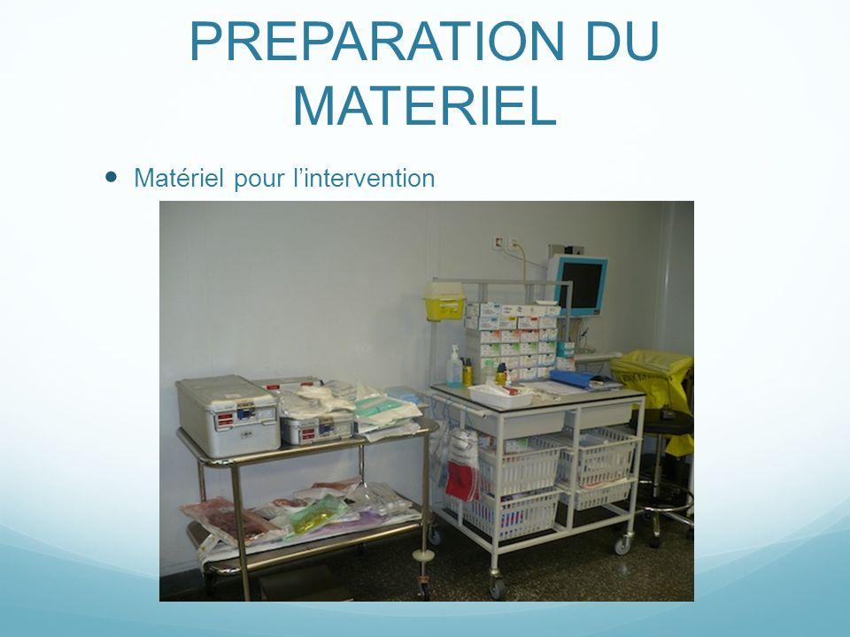 PREPARATION DU MATERIEL Matériel pour lintervention