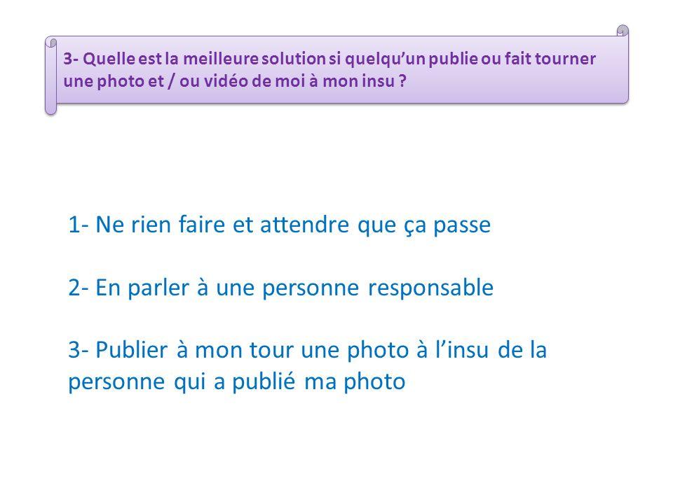 3- Quelle est la meilleure solution si quelquun publie ou fait tourner une photo et / ou vidéo de moi à mon insu ? 1- Ne rien faire et attendre que ça