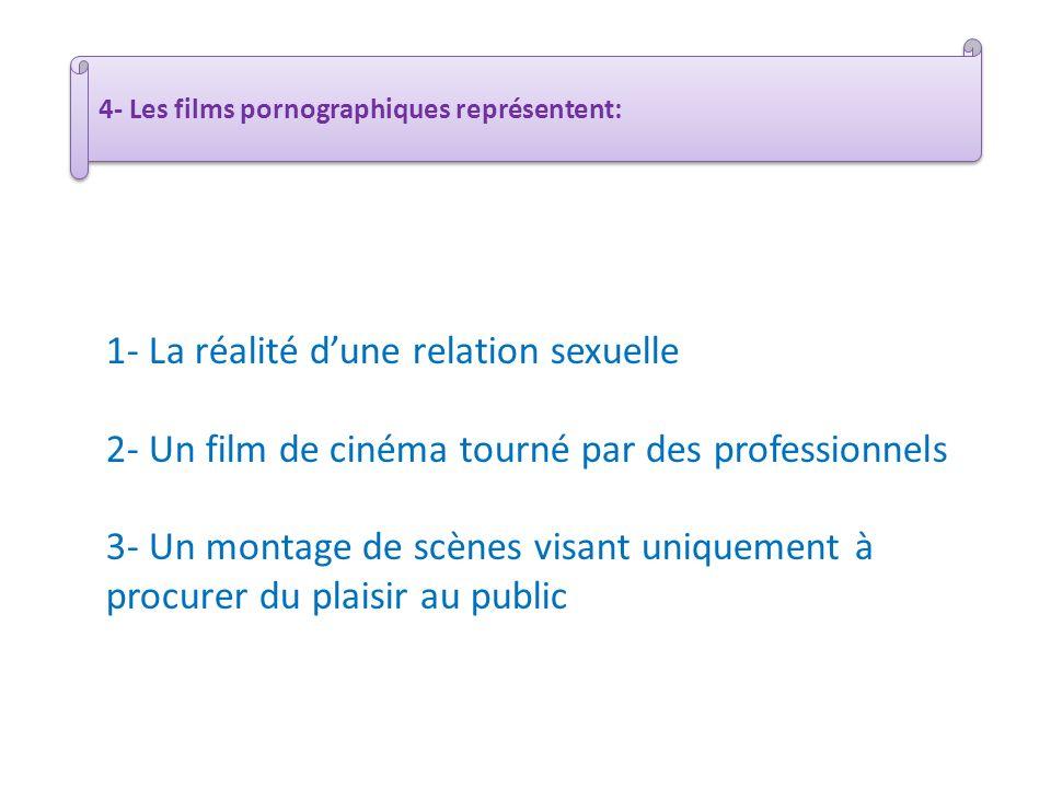 1- La réalité dune relation sexuelle 2- Un film de cinéma tourné par des professionnels 3- Un montage de scènes visant uniquement à procurer du plaisi