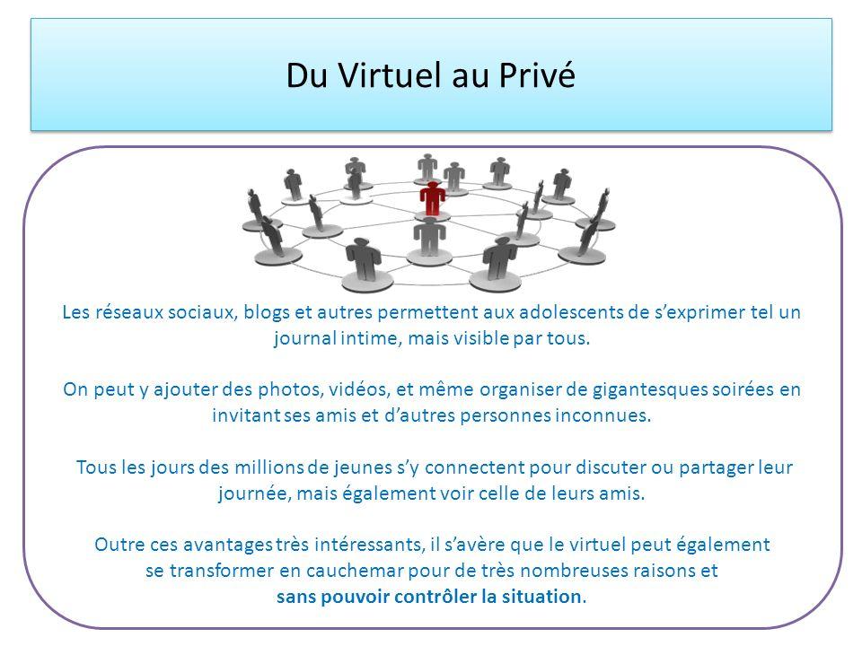 Du Virtuel au Privé Les réseaux sociaux, blogs et autres permettent aux adolescents de sexprimer tel un journal intime, mais visible par tous. On peut