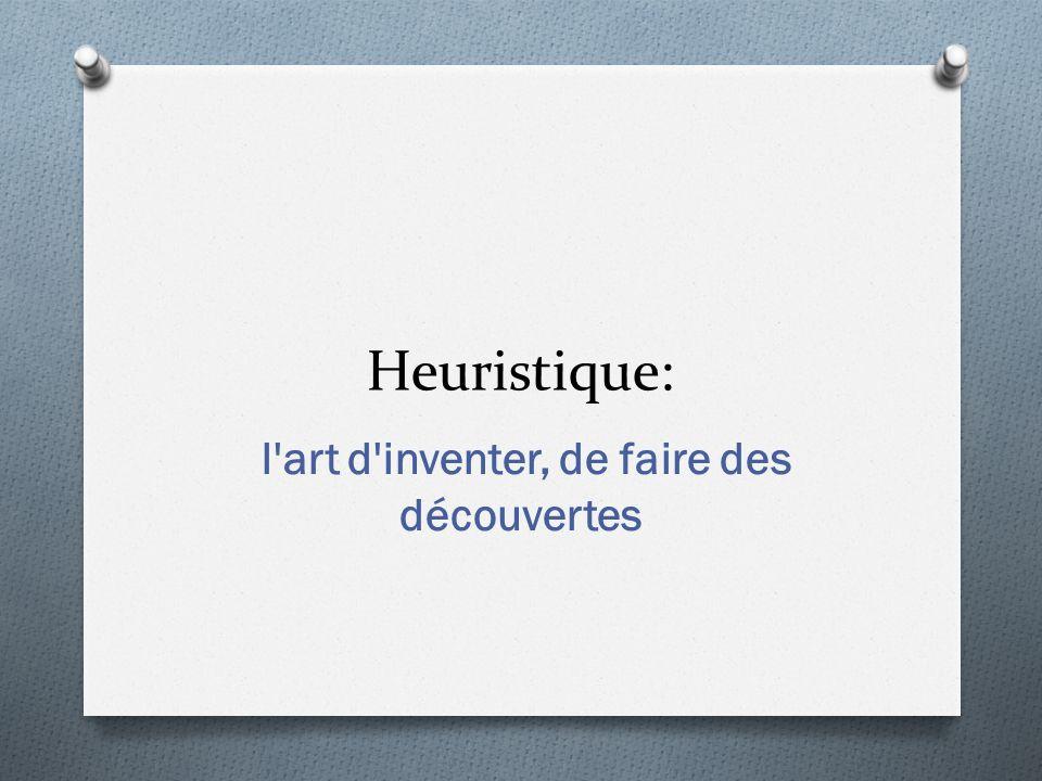 Heuristique: l'art d'inventer, de faire des découvertes