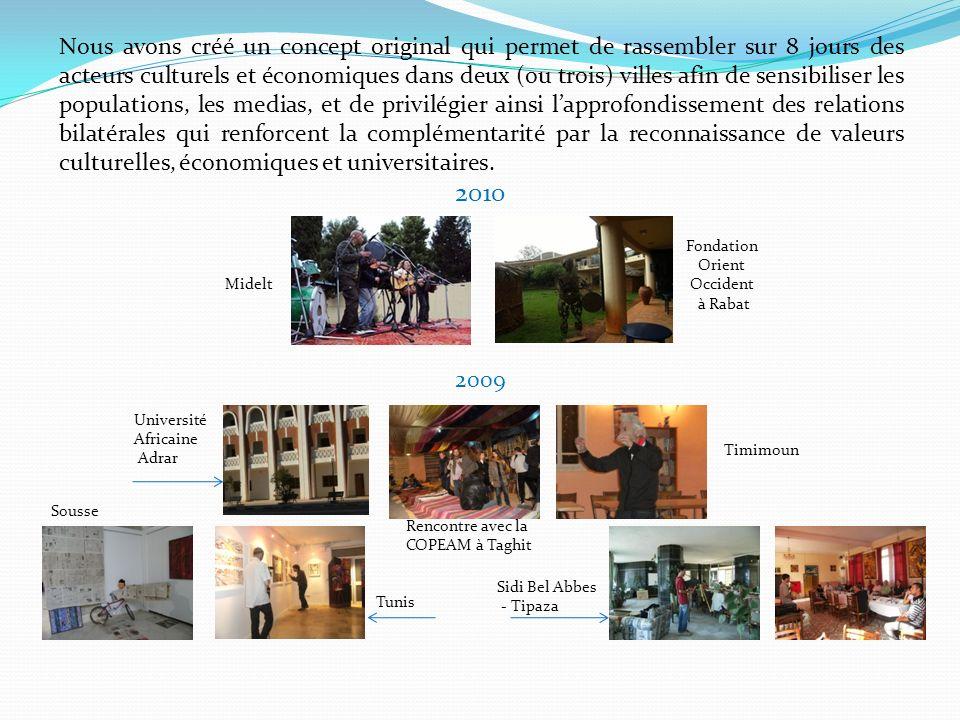 Ces actions sont importantes car elles permettent de mettre en relation des réseaux : chambres de commerce et dindustrie, universités (professeurs et étudiants) ainsi que les circuits artistiques : conservatoires, beaux-arts et associations artistiques entre les deux rives de la méditerranée.