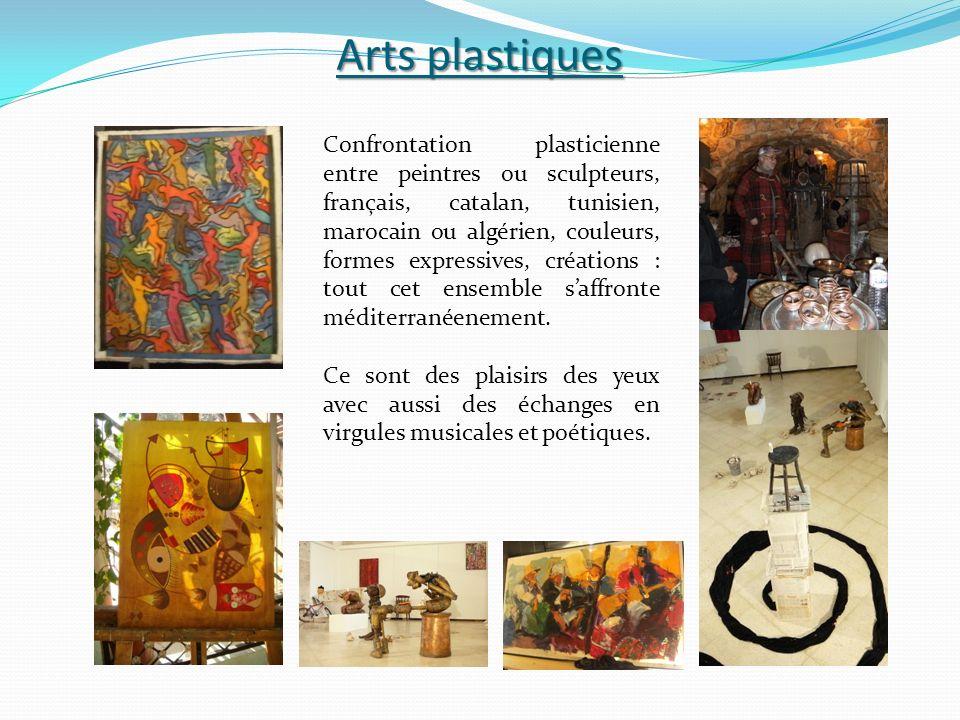 Arts plastiques Confrontation plasticienne entre peintres ou sculpteurs, français, catalan, tunisien, marocain ou algérien, couleurs, formes expressives, créations : tout cet ensemble saffronte méditerranéenement.