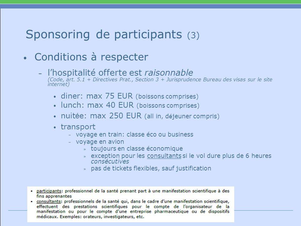 Sponsoring de participants (3) Conditions à respecter – lhospitalité offerte est raisonnable (Code, art.