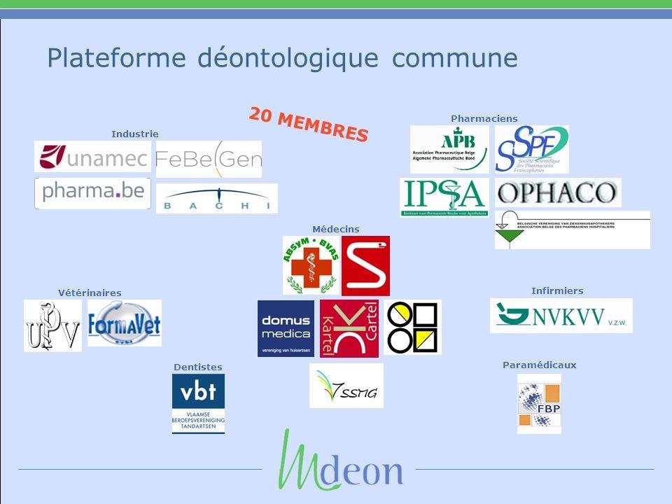 Plateforme déontologique commune 20 MEMBRES Vétérinaires Industrie Dentistes Infirmiers Pharmaciens Médecins Paramédicaux