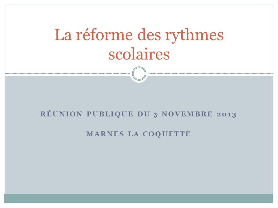 RÉUNION PUBLIQUE DU 5 NOVEMBRE 2013 MARNES LA COQUETTE La réforme des rythmes scolaires