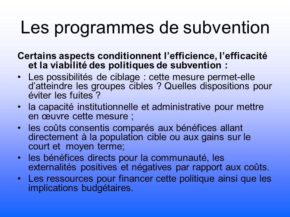 Les programmes de subvention Certains aspects conditionnent lefficience, lefficacité et la viabilité des politiques de subvention : Les possibilités de ciblage : cette mesure permet-elle datteindre les groupes cibles .
