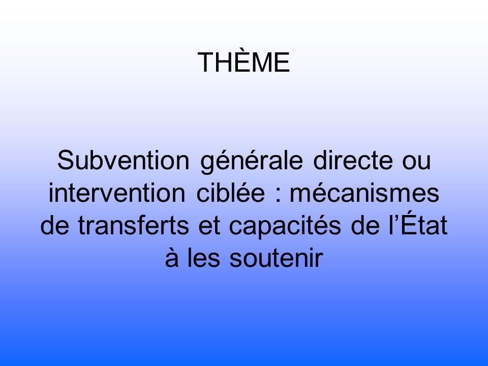 THÈME Subvention générale directe ou intervention ciblée : mécanismes de transferts et capacités de lÉtat à les soutenir